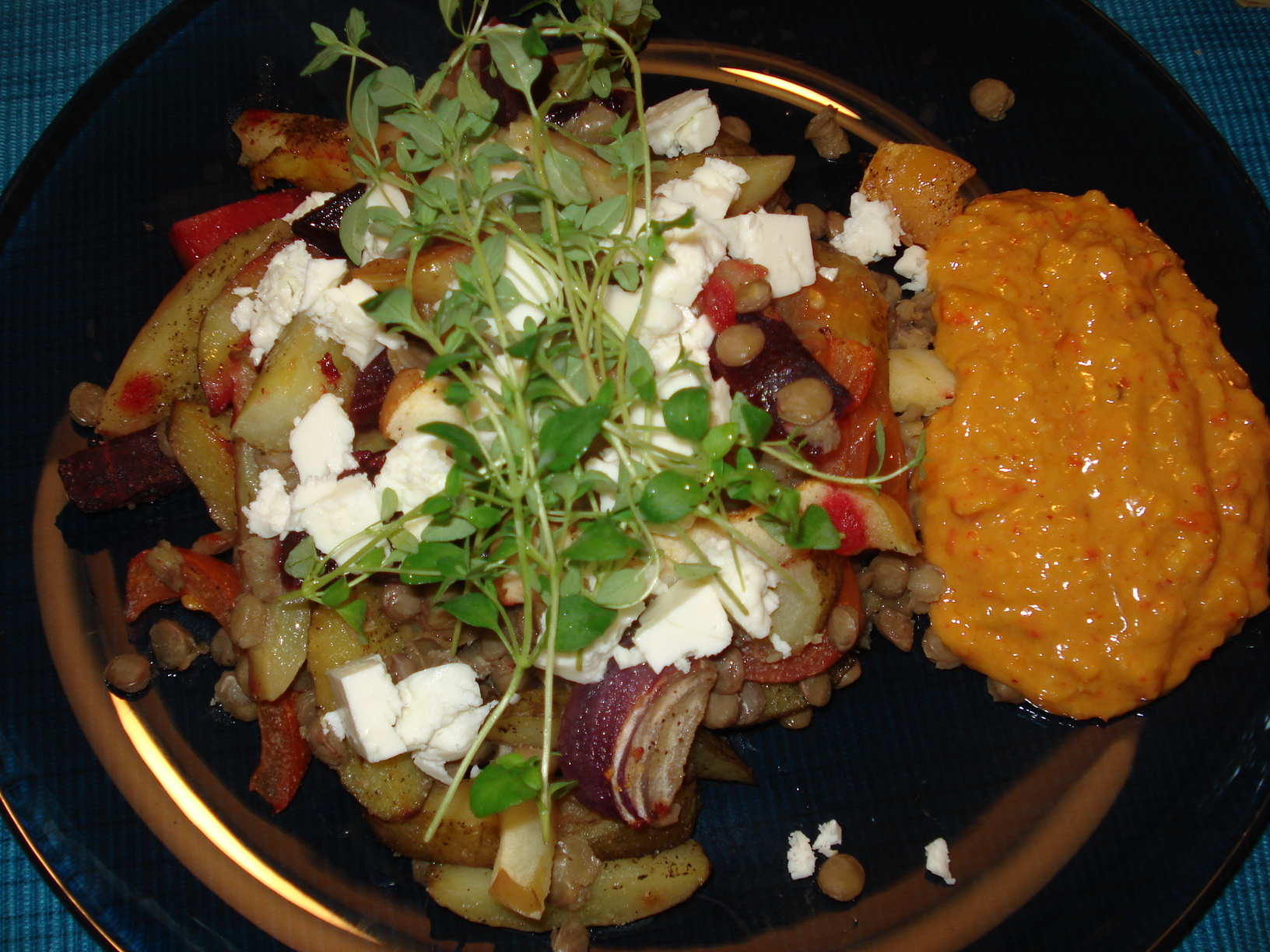 Roasted root vegetables with feta cheese and Salsa Romesco