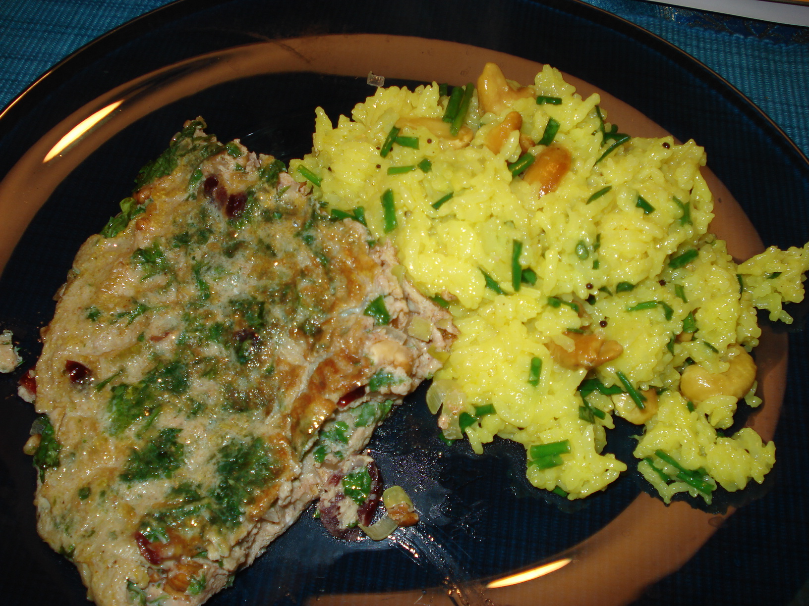 Herb omelette with lemon basmati rice