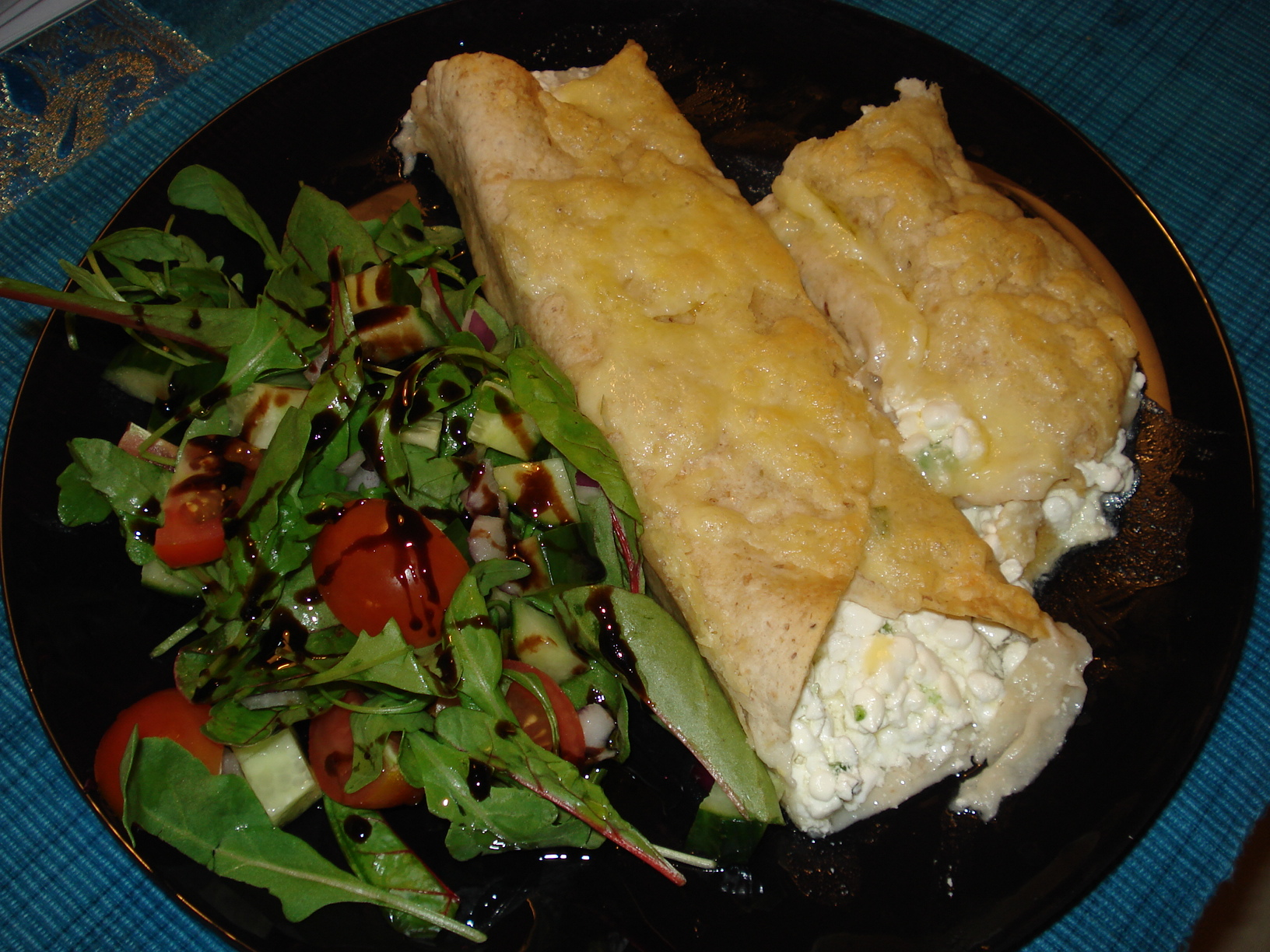 Enchiladas with chilli cottage cheese