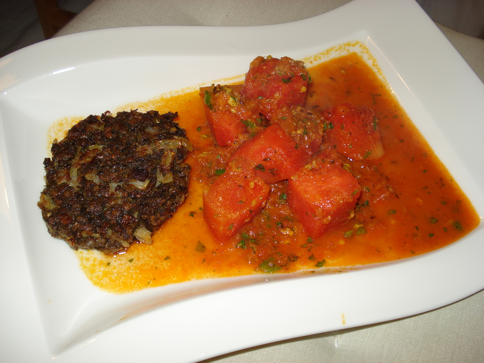 Watermelon Curry with black lentil patties