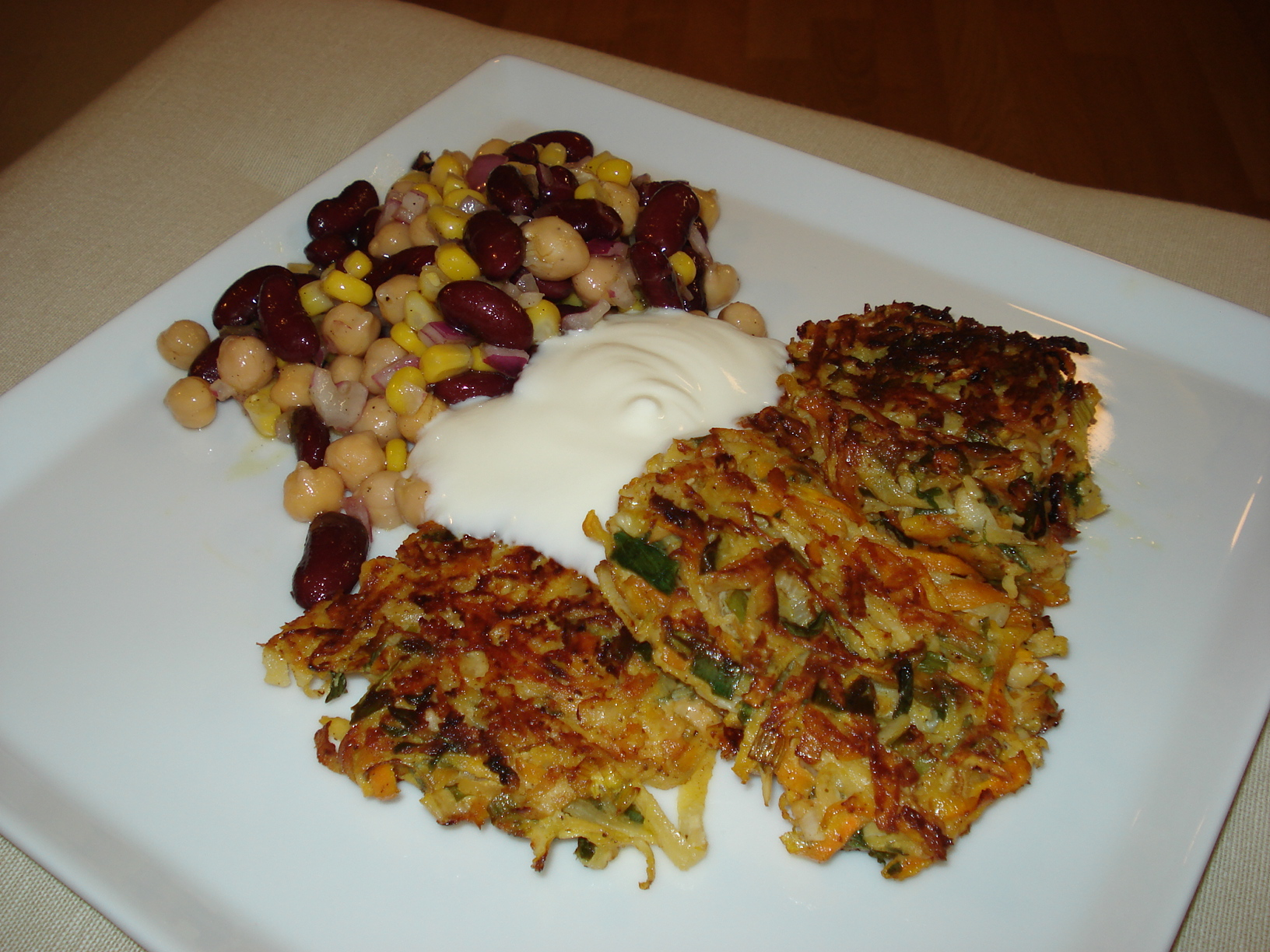 Root vegetable patties with bean salad and yogurt