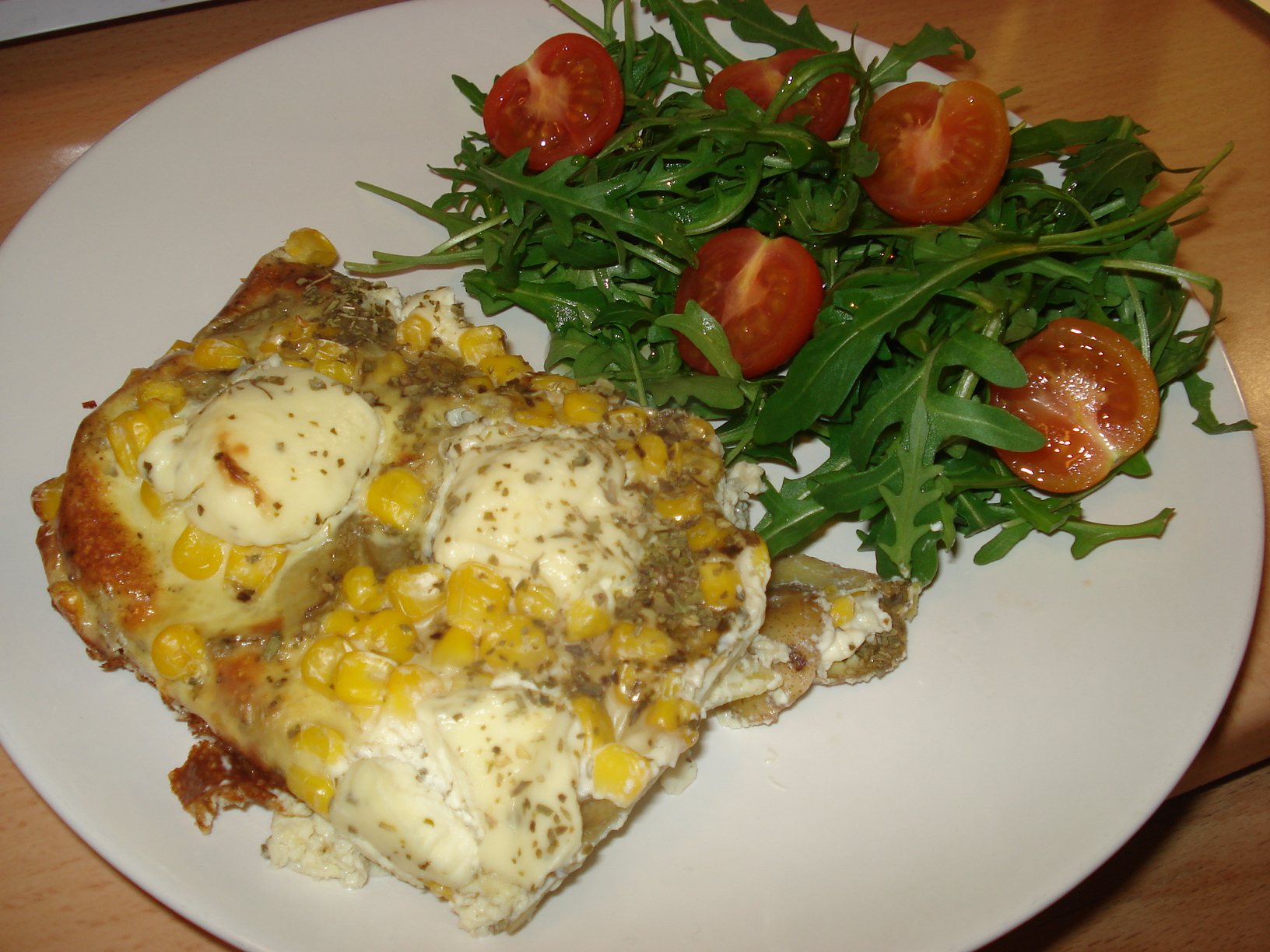 Frittata with corn and cheese