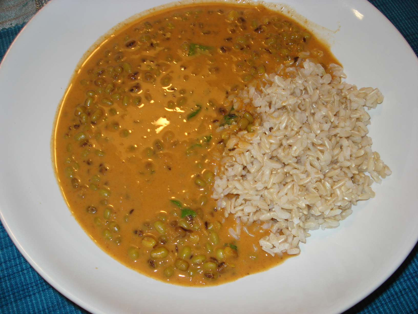 Mung beans in coconut curry